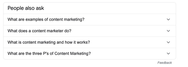 Question Type competitors featured snippets