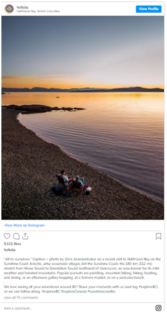 instagram content is generated by actual tourists
