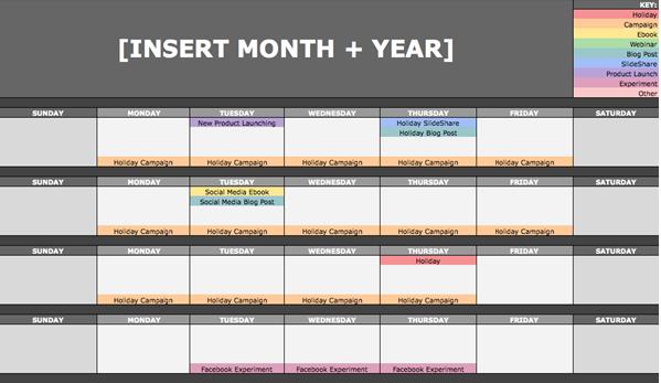 Insert month calendar