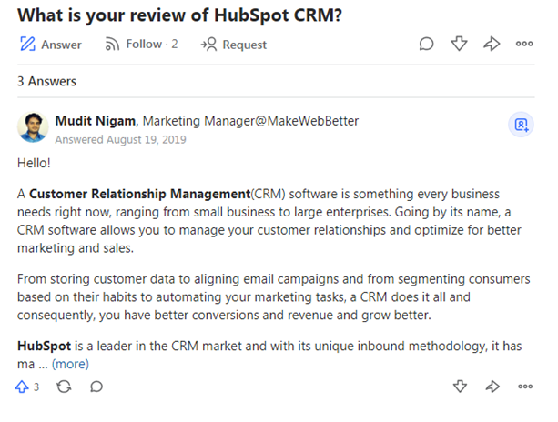 Review of hubspot CRM Mudit Nigam