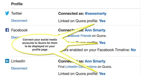 social account connect with quora