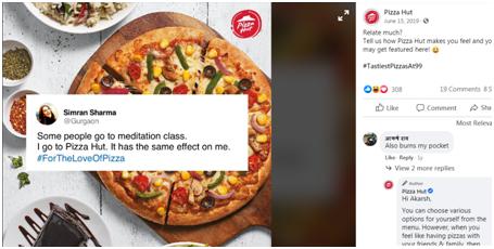 Pizza Hut social media post
