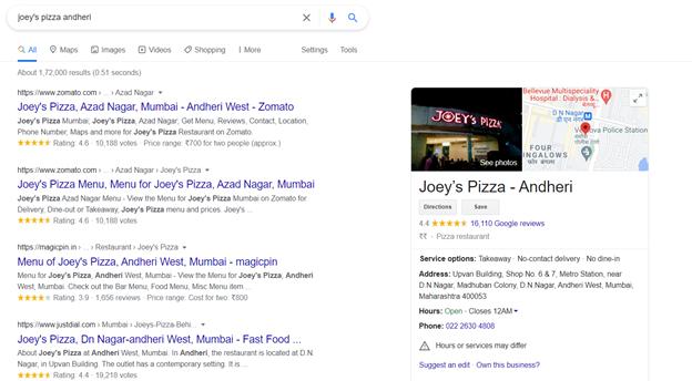 Google knowledge panel joy pizza
