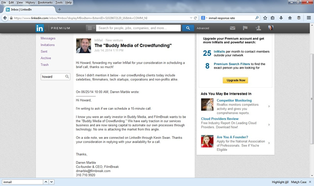 Linkedin Email example